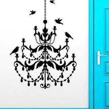Wall Stickers Vinyl Decal Chandelier Birds Light Cool Living Room Vintage Unique Gift ig2308