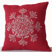 Red Burlap Pillows -Christmas Pillow -Snowflake -Red Throw Pillow Cover -Christmas Cushion -Silver Sequin Snow Pillows -18x18 -Bedding -Gift