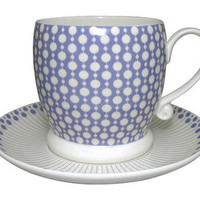 Designer Homeware | Make International Ltd | Boule Cup and Saucer - Bluebell and Cream