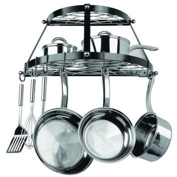 Black Metal Wall Mount 2-Shelf Kitchen Pot Rack - Holds Up To 30 Lbs.