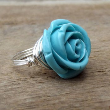 Turquoise Blue Rose Ring:  Silver Wire Wrapped Something Blue Bridal Jewelry, Bridesmaid, Mother's Day