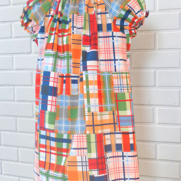2T Peasant Dress Madras Ready To Ship Boutique Clothing By Lucky Lizzy's