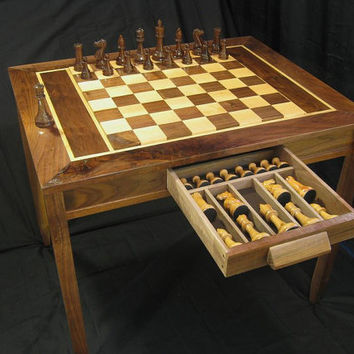 Handmade Chess Table and Staunton Club Chess Pieces by Jim Arnolds Chess Sets