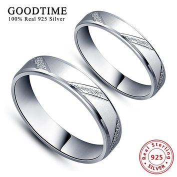 Rings 925 Sterling Silver Jewelry Simple Style Lovers' Ring Micro Scrub Wedding Band Jewelry Silver Couple Rings for Women / Men