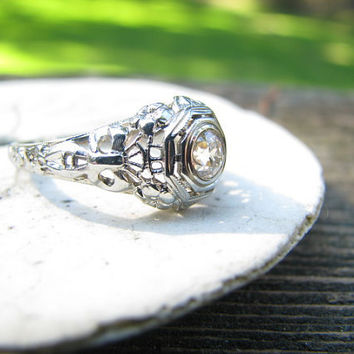 Stunning Edwardian to Art Deco Filigree Diamond Engagement ring - Old Mine Cut Diamond - Intricate Floral Details - Fine Maker JR Wood