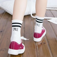 Japanese Women Preppy Style Two Stripes Tube Socks Harajuku Character Smile Cotton Socks For Students