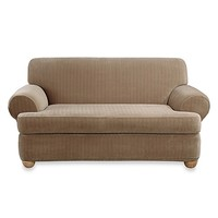 Sure Fit® Stretch Pinstripe 2-Piece T-Cushion Sofa Slipcover