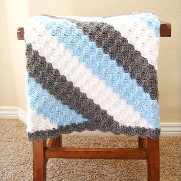 Crochet Baby Blanket for Boys - Baby Shower Gift for Boys - Hand Made Baby Blanket - Machine Washable Baby Blanket - Crochet Baby Afghan