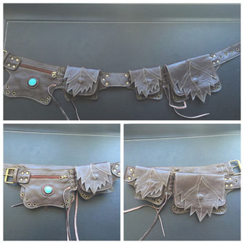 Brown leather  turquoise leaf utility belt
