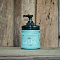 Mason Jar Soap Dispenser - Painted with Annie Sloan Chalk Paint in Provence and Distressed - Rustic, Country,  Farmhouse, Vintage Style