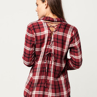 SKY AND SPARROW Back Lace Up Womens Plaid Shirt
