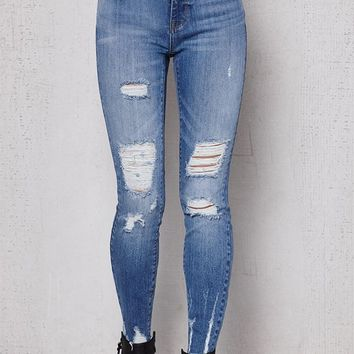 PacSun Bow Blue Ripped Mid Rise Skinny Ankle Jeans at PacSun.com