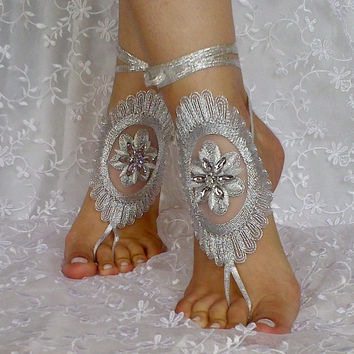 Silver 3D flower beach wedding barefoot sandal