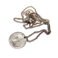 1960s Canadian Nickel Coin Necklace, Silver Chain