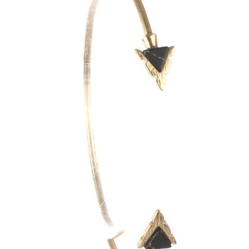 Black Triangular Natural Stone Arrowhead Wire Cuff Bracelet
