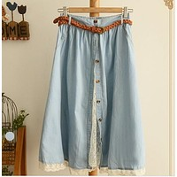 Elastic waist buttons  patchwork lace solid denim skirts mori girl