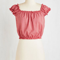 ModCloth Americana Short Length Cap Sleeves Cropped Clambake Cutie Top