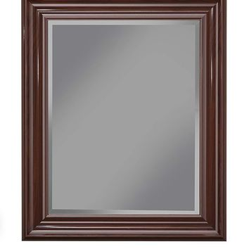 Polystyrene Framed Wall Mirror With Beveled Glass, Cherry Brown