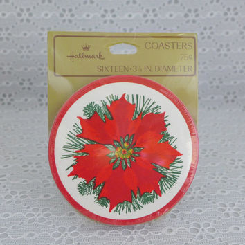 Poinsettia Coasters, Hallmark Paper Coasters, Disposable Coasters, Christmas Holiday Decor, Beverage Coasters