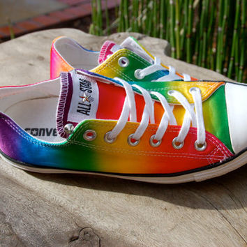 Studded Converse Rare Satin Rainbow - New Listing - Low Top  Studded Converse