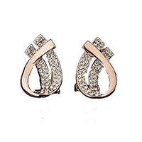 Rose Gold Plated With Austiran Rhinestones Unique Double Teardrop Post Earrings
