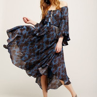 """SALE 50% OFF Off The Shoulder Boho Maxi Dress """"The Island Life"""" Bell Sleeves Lace Up Front Dark Blue And Black Print Sizes Small Medium Large Or Extra Large"""