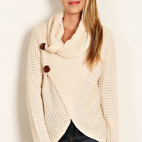 Cowl Neck Sweater with Wrap Bodice and Button Details