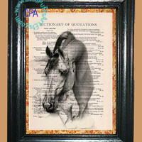 Portrait of a Horse Art - - Vintage Dictionary Book Page Art-Upcycled Page Art,Wall Art,Collage Art, Equine Art - Horse Print
