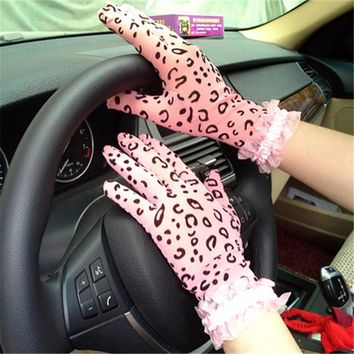 Elegant Women Gloves Genuine Sheepskin Leopard grain Lace Gloves High Quality Fashion Colors Ladies Brand Sunscreen Mittens