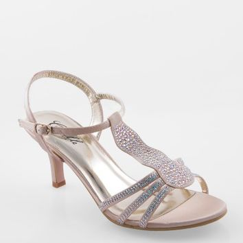 Low Heel Rhinestone Sandal with Ankle Strap