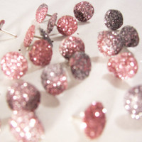 25 Glitter Thumb Tacks - Pink and Silver - Push Pin - Bulletin Board - Girl's Bedroom - College Dorm - Sorority / Bridesmaid Gift - Trinket