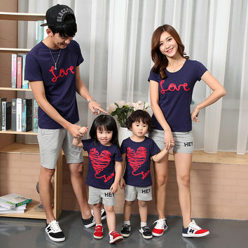 Mother and daughter clothing Dad and son T-shirt cotton family matching outfits short sleeve 832