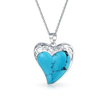 Filigree Inlaid Turquoise Heart Pendant Necklace 925 Sterling Silver