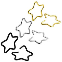 Charisma Stainless Steel Clip-on Closure Star Ring Fake Nose Lip Helix Cartilage Tragus Earrings
