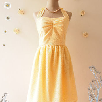 Yellow Lace Dress Lace Party Dress Lace Bridesmaid Dress Pastel Yellow Wedding Prom Dress Yellow Summer Dress Tea Dress-Size XS-XL,Custom