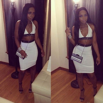 Halter Backless Cropped Top Mini Bodycon Skirt Set