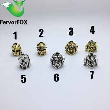 6PC Big size Paracord Beads Metal Charms Skull For Paracord Bracelet  Accessories DIY Pendant Buckle for Paracord Knife Lanyards