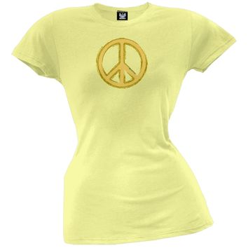 Peace Sign Yellow Juniors T-Shirt
