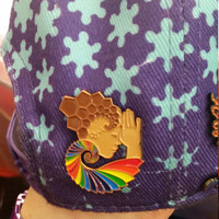 Official Light Child Project DMT Molecule Sacred G Geometry ROYGBIV Bass Goddess Lapel Hat Pin