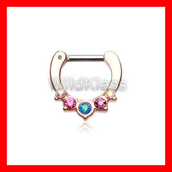 Rose Gold Opal Precia Septum Clicker Ring Horseshoe Gems Ring Cartilage Earrings Nipple Ring Circular Barbell Tragus Jewelry Helix Conch