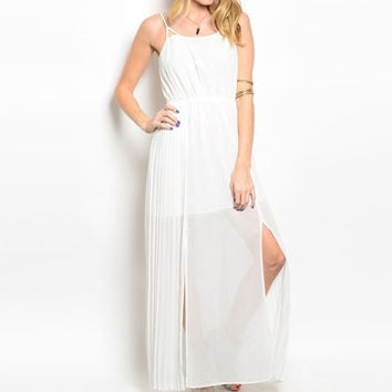Side Slit Chiffon Maxi Dress in White