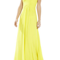 Green BCBG Astella Sleeveless Shirred Gown