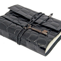 Embossed Black Leather Journal with Skeleton Key Bookmark