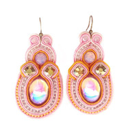 CANDYFLOSS soutache earrings in pink and sunflower with Free International shipping