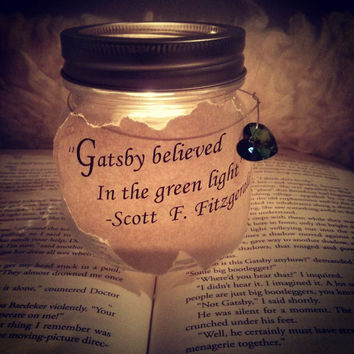 "Quote mason jar candle holder ""The Great Gatsby'' fall/autumn home decoration and centerpiece"