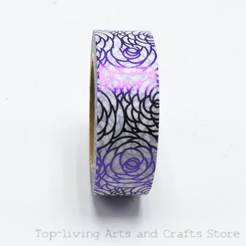 Purple Flower Foil Washi Tape Set Japanese Stationery Scrapbooking Decorative Tapes Adhesive Tape Kawai Adesiva Decorativa