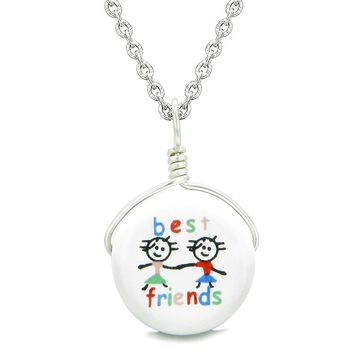 Handcrafted Cute Ceramic Lucky Charm Couple Best Friends Forever Amulet Pendant 18 Inch Necklace