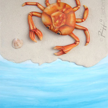 Beach Crab | Unique Totally Handmade 3-D Painting!