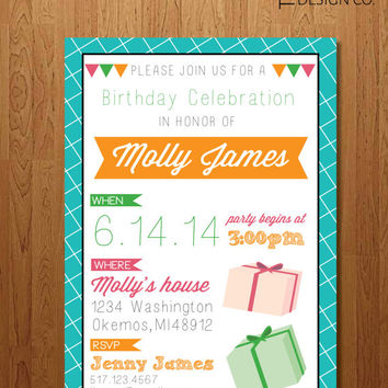 "Girl's Birthday Invitation -  ""The Molly"""