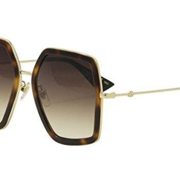 Gucci GG 0106 S- 002 002 HAVANA / BROWN / GOLD Sunglasses
